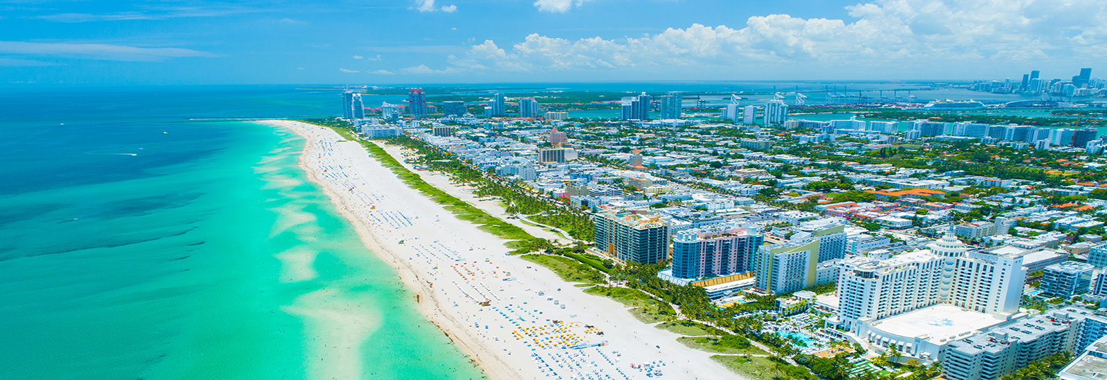 This is a stock photo. An aerial view of Miami Beach in Miami, Florida.