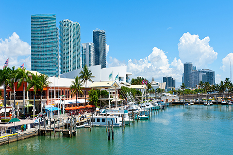 A stock photo of Bayside Market Place in Downtown Miami, Florida.