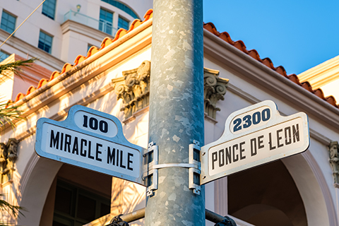 A stock photo of a famous street sign in Coral Gables, Florida.