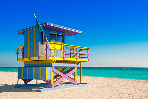 A stock photo of a lifeguard's tower on South Beach in Miami, Florida.