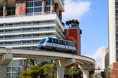 A stock photo of the Metro Mover which is one form of public transportation in Miami, Florida.