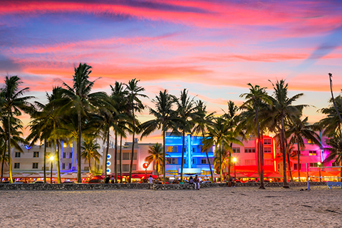 A stock photo of the city scape on South Beach in Miami, Florida.