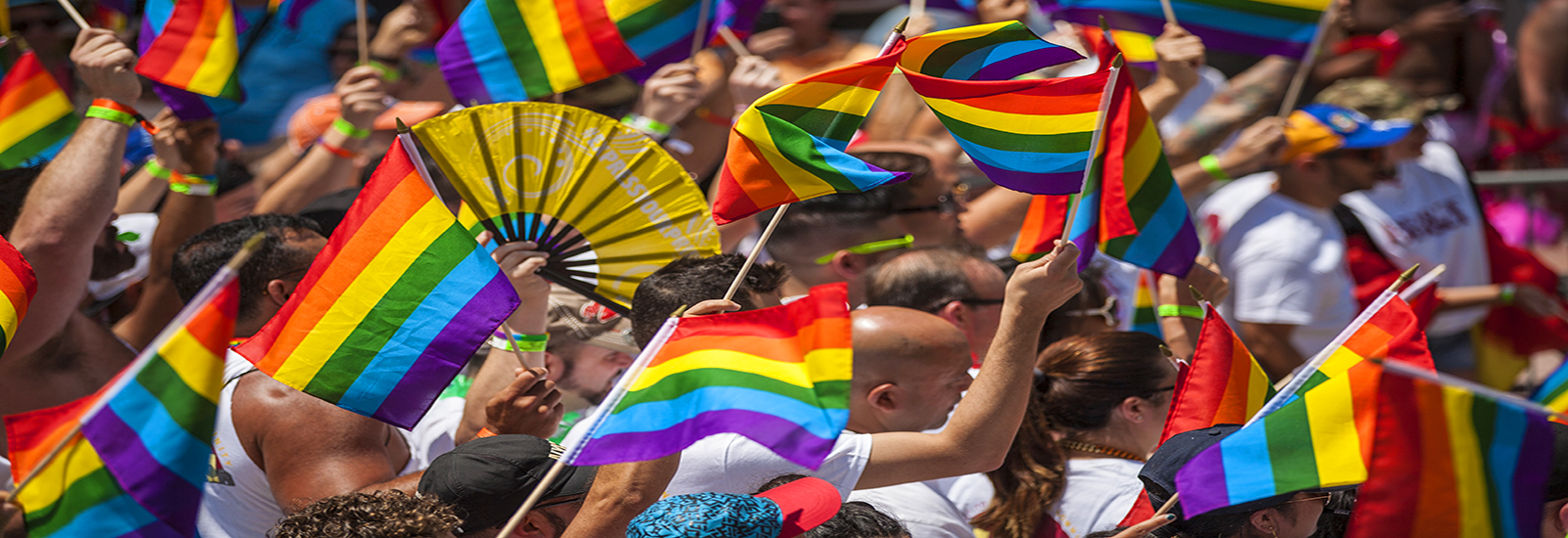 This is a stock photo. A zoomed in photo of parade goers and pride flags at the Miami Beach pride parade.