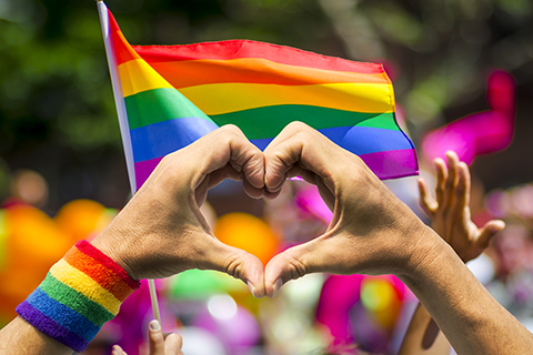 This is a stock photo. A person using their hands to form a heart, with a pride flag waving in the background.