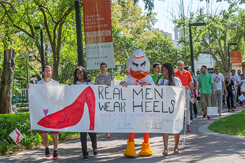 "A photo from the 2016 ""Walk A Mile In Her Shoes"" event at the University of Miami Coral Gables campus."