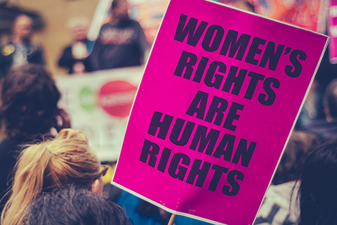 "This is a stock photo. An up close photo of a sign which reads ""women's rights are human rights."""